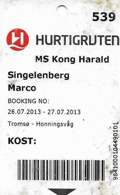 Hurtigruten ticket voor de bootreis van Tromsø naar Honningsvåg